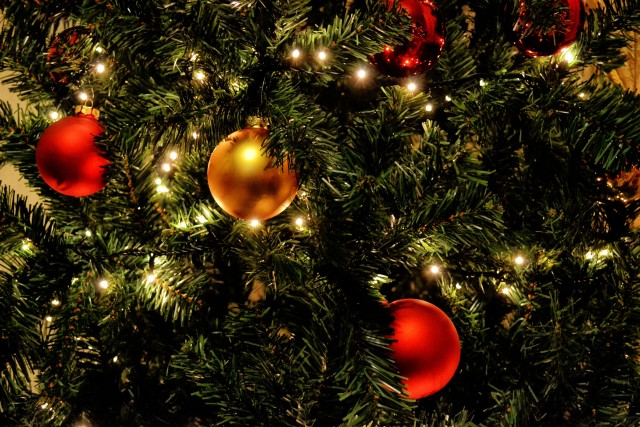Green Christmas Tree With Red Baubles · Free Stock Photo, Christmas Decoration